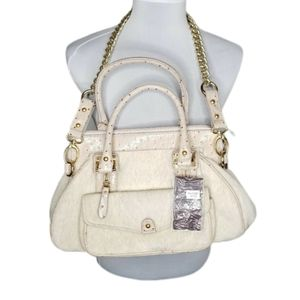 Vieta Beige Faux Fur Chain Purse Handbag